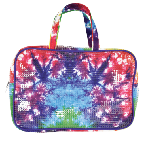 Sequin Tye Die Clear Sequin Large Cosmetic Bag