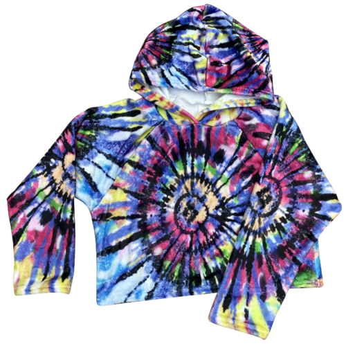 Colorful Tie Dye Fuzzy Cropped Hoodie