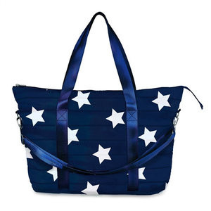 Navy Star Puffer Tote