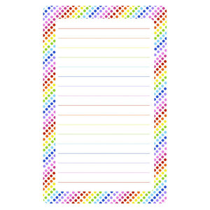White Rainbow Dots Lined Notepad