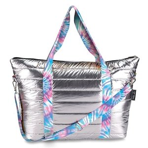 Metallic Puffer Weekender with Ice Tie Dye Straps