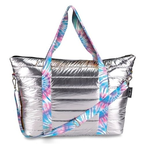 Metallic Puffer Weekender with Tie Dye Straps