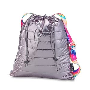Metallic Puffer Sling Bag with Tie Dye Straps