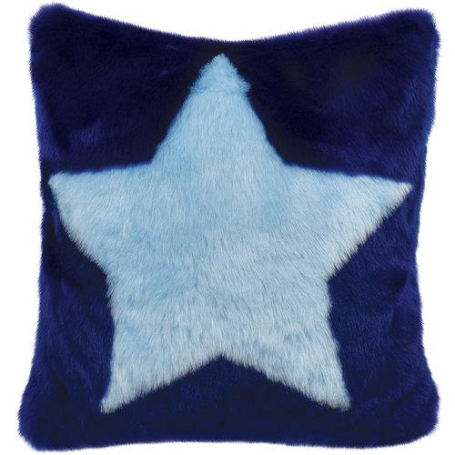 Blue Star Furry Pillow