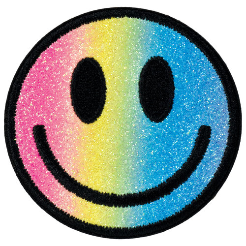 Glittery Smiley Face Sticker Patch