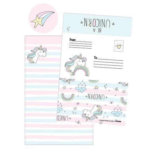 Unicorn Stripes Foldover Cards