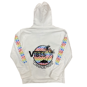 Vibes Rainbow Checkered Zip-Up Sweatshirt
