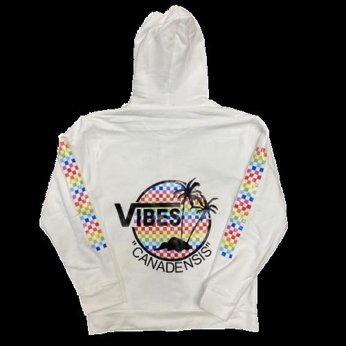 Vibes Rainbow Checkered Zip-Up Sweatshirt
