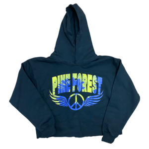 Tie Dye Peace Wings Cropped Camp Sweatshirt