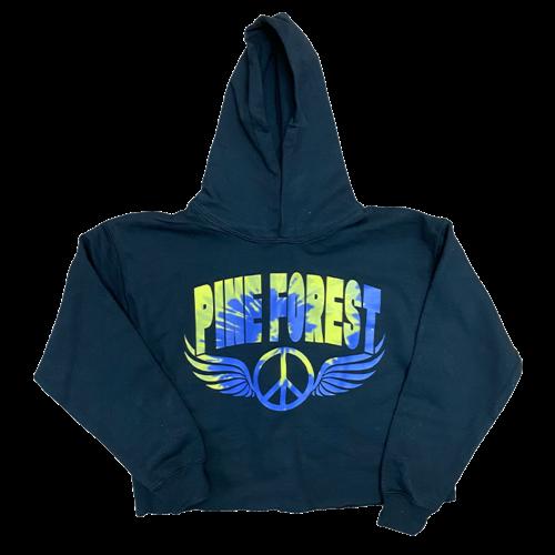Tie Dye Peace Wings Cropped Camp Sweatshirt