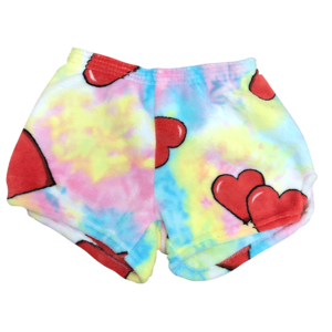 Tie Dye Hearts Fuzzy Shorts