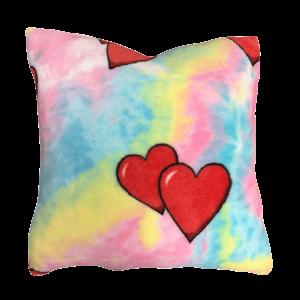 Tie Dye Hearts Fuzzy Square Pillow