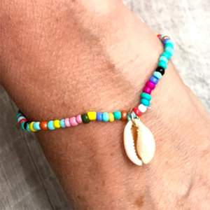 Rainbow Beads with Hanging Shell Bracelet