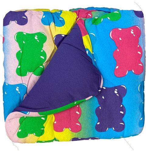 Reversible Purple/Gummy Bear Jersey Comforter