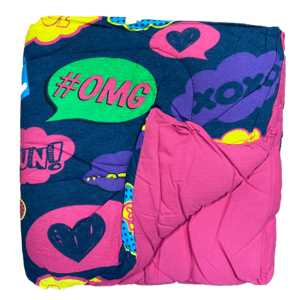 Reversible Pink/Text Bubbles Jersey Comforter