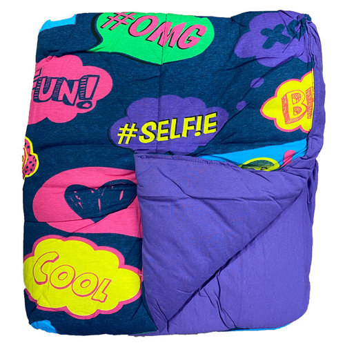 Reversible Purple/Text Bubbles Jersey Comforter