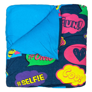 Reversible Turquoise/Text Bubbles Jersey Comforter