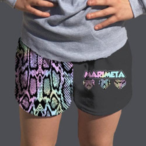 Camp Marimeta Pastel Snake Skin Fuzzy Shorts