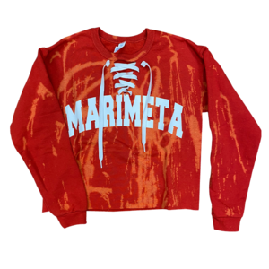 Camp Marimeta Bleached Cropped Lace-Up Sweatshirt
