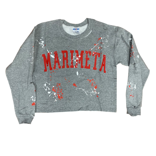 Camp Marimeta Cropped Raw Edge Holey Splatter Sweatshirt