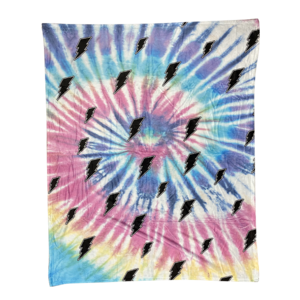 Tie Dye Bolt Fuzzy Throw Blanket