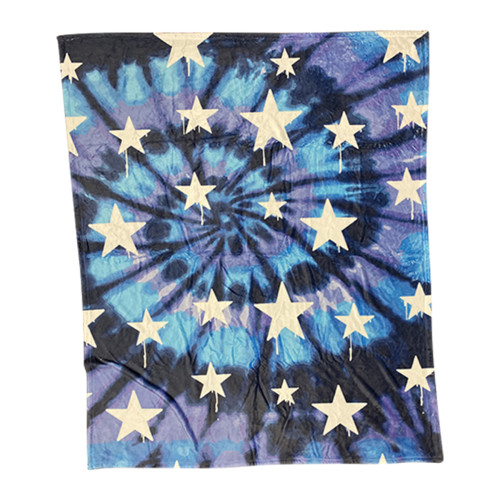 Tie Dye Dripping Stars Fuzzy Throw Blanket