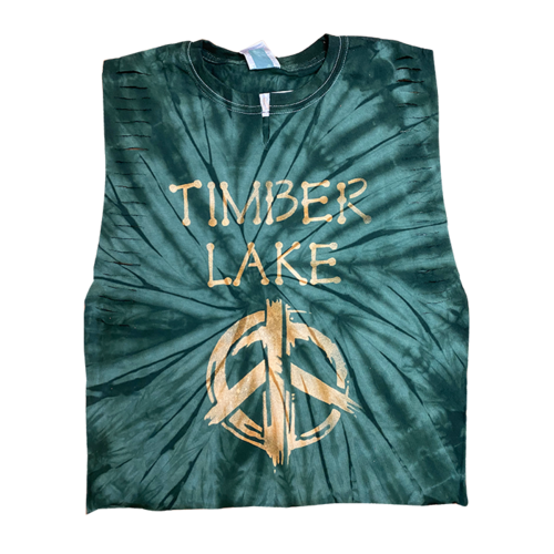 Ladder Snipped Tie Dye Mega Crop with Painted Peace Sign Camp Shirt