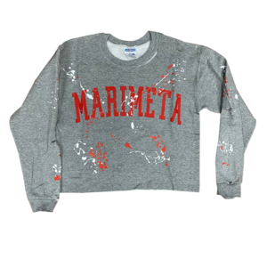 Cropped Raw Edge Holey Splatter Sweatshirt