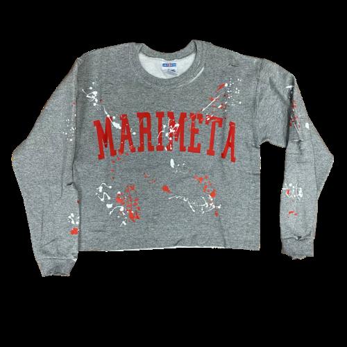 Cropped Raw Edge Holey Splatter Sweatshirt