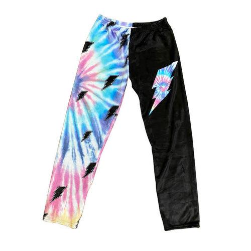 Tie Dye Bolt Fuzzy Pants
