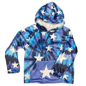 Tie Dye Dripping Stars Fuzzy Hoody