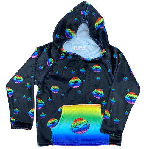 Rainbow Lips Fuzzy Hoody