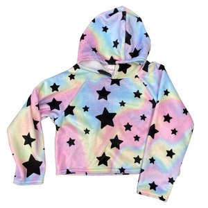 Pastel Tie Dye Star Fuzzy Cropped Hoody