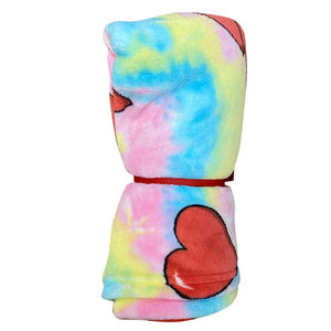 Tie Dye Hearts Fuzzy Throw Blanket