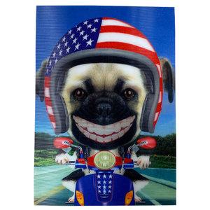 Pug on Bike 3-D Postcard