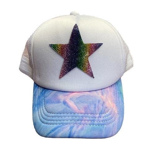 Rainbow Star Bling Trucker Hat