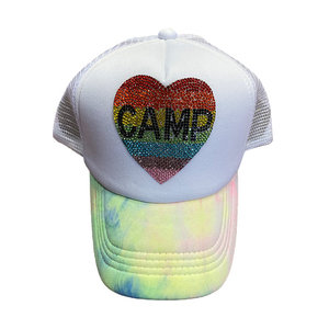 Camp Rainbow Heart Bling Trucker Hat