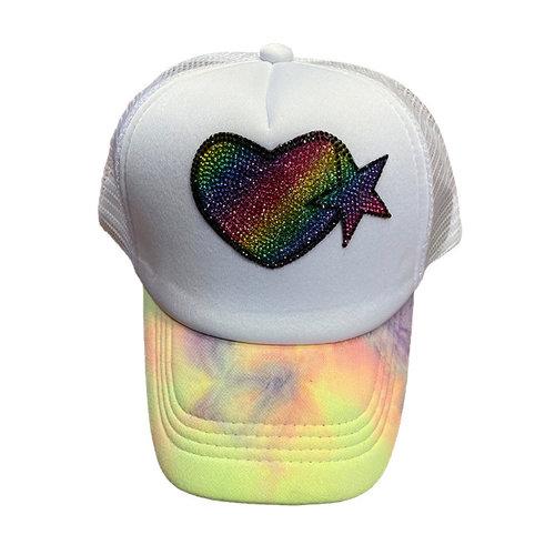 Rainbow Heart Bling Trucker Hat