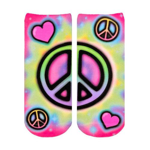 Tie Dye Peace Airbrush Ankle Sock