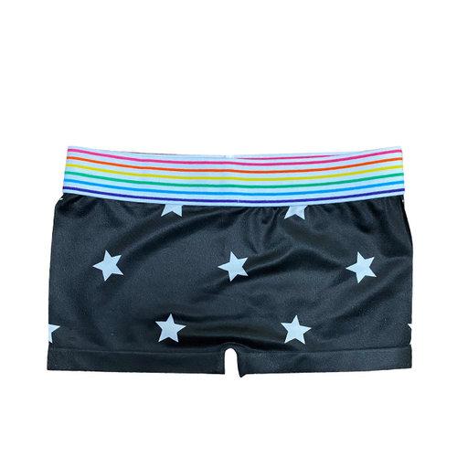 Black and White Stars Boy Shorts