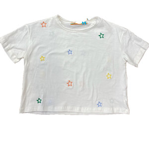 White T-Shirt Multi color Star