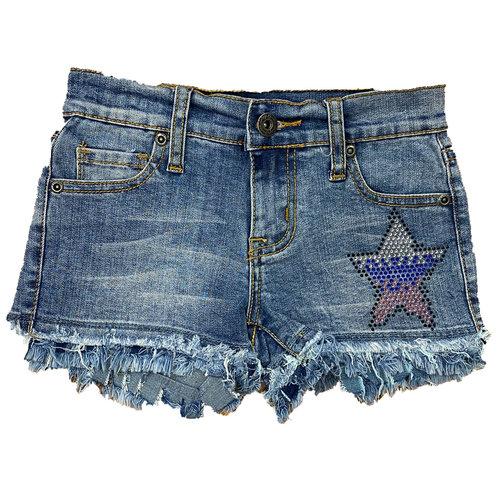 Medium Wash Double Fray Denim Shorts