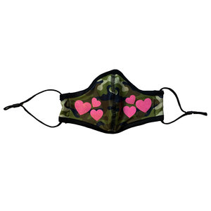 Camo Mask with Pink Hearts