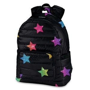 Black with Rainbow Stars Puffer Backpack
