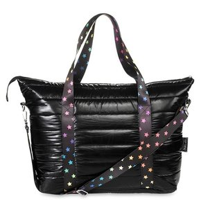 Black Puffer Weekender Tote with Scattered Stars Straps