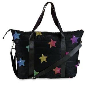 Glittery Stars Puffer Weekender Tote