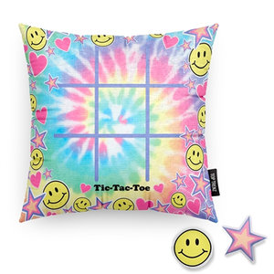 Tic Tac Toe Tie Dye Game Pillow