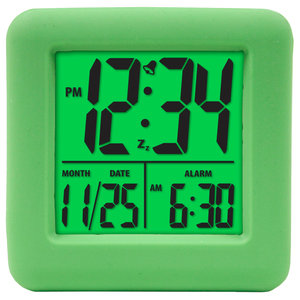 Lime Green Square Digital Clock