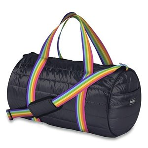 Black Puffer Duffel Bag with Rainbow Straps