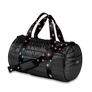 Metallic Puffer Duffel Bag with Star Straps